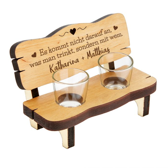 Personalisierte Schnapsbank für Paare - Trinkspruch