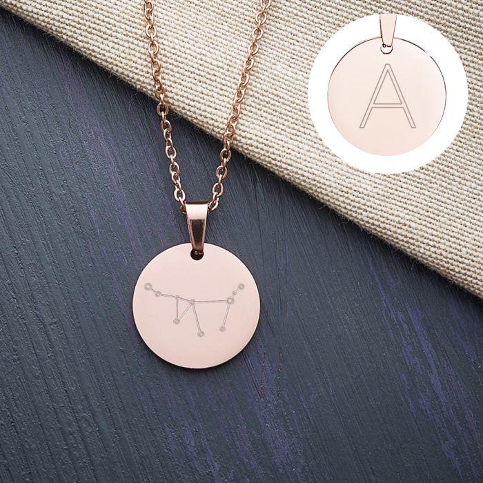 Pendentif rond bronze - Signe astrologique avec initiale