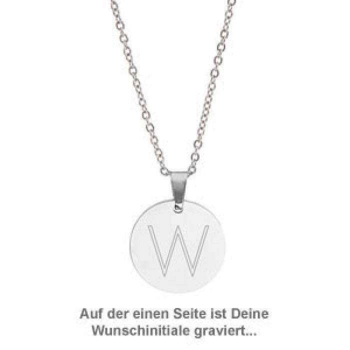 Runder Kettenanhänger Silber - Sternbild mit Initiale