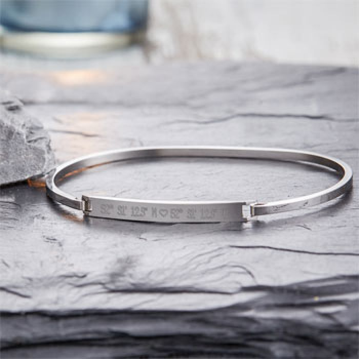 Armreif Silber mit Gravur - Geokoordinaten mit Herz