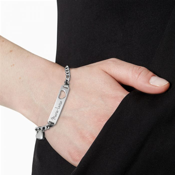 Armband mit Herzstanze Silber - Namensgravur