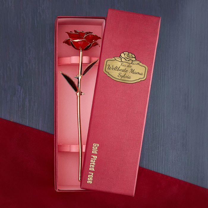 Vergoldete Rose mit Geschenkbox - Weltbeste Mama