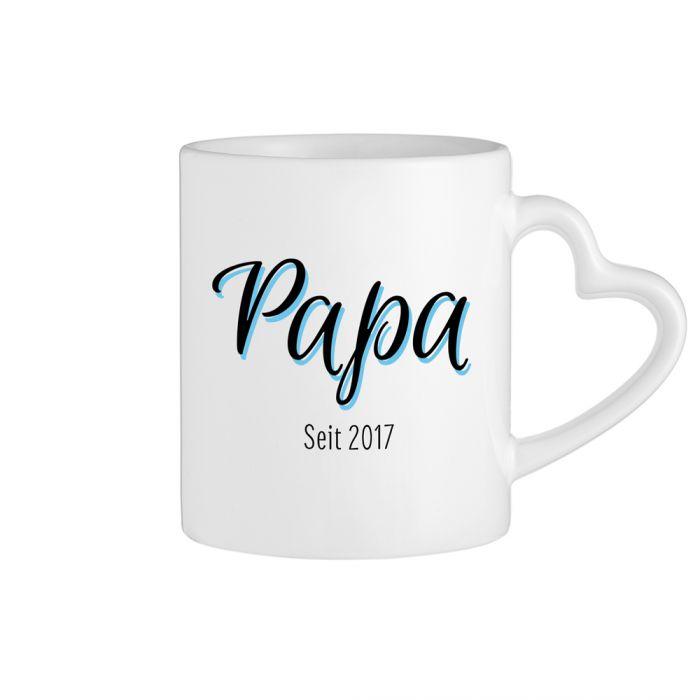 Personalisierte Herz Henkeltasse - Papa seit