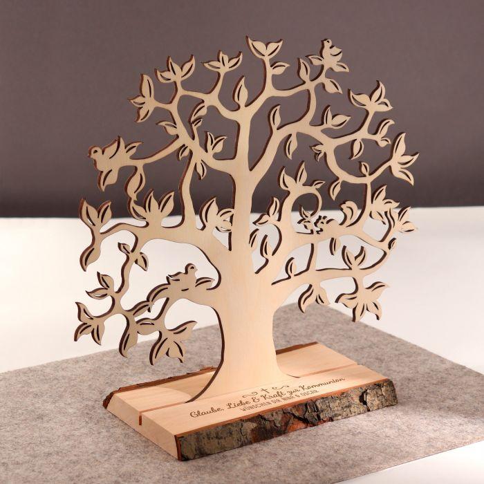 Baum mit Sockel graviert - Kommunion (klein)