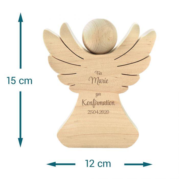 Holzengel mit Gravur zur Konfirmation