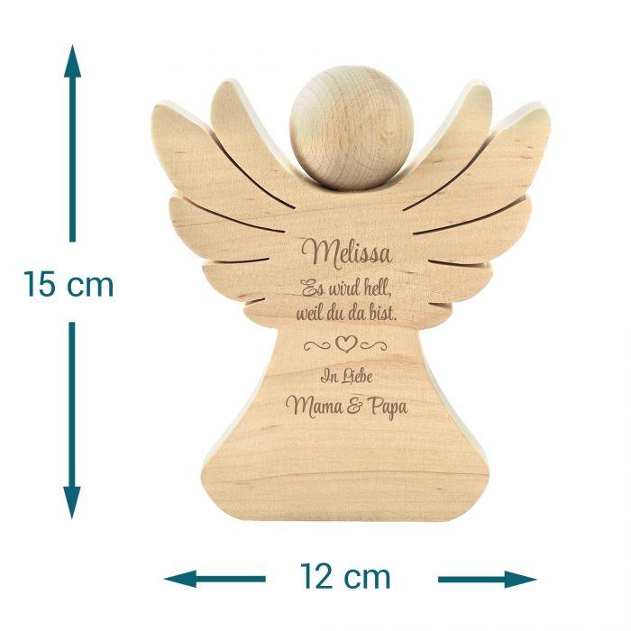 Holzengel mit Gravur zur Geburt