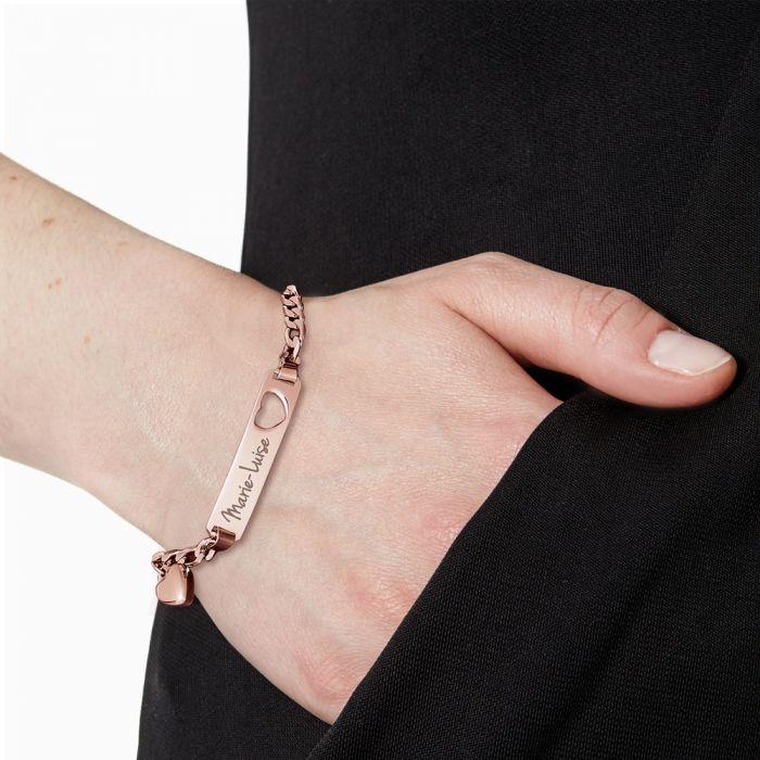 Armband mit Herzstanze Rosegold - Namensgravur
