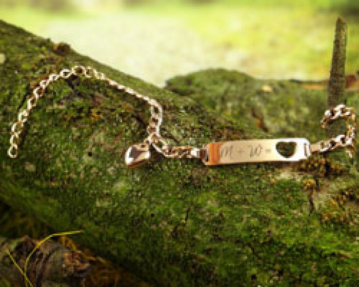 Armband mit Herzstanze Rosegold - Initialengravur