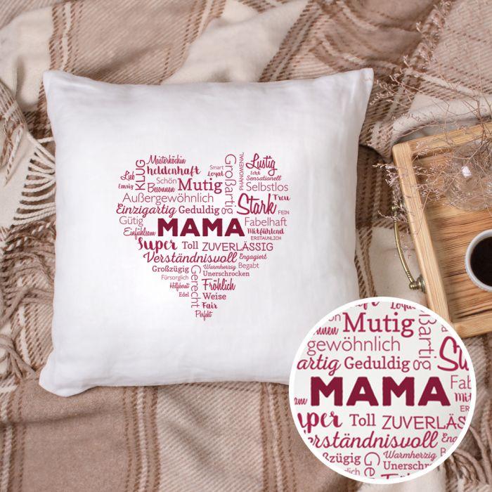 Personalisiertes Kissen für Mama - Herz aus Worten