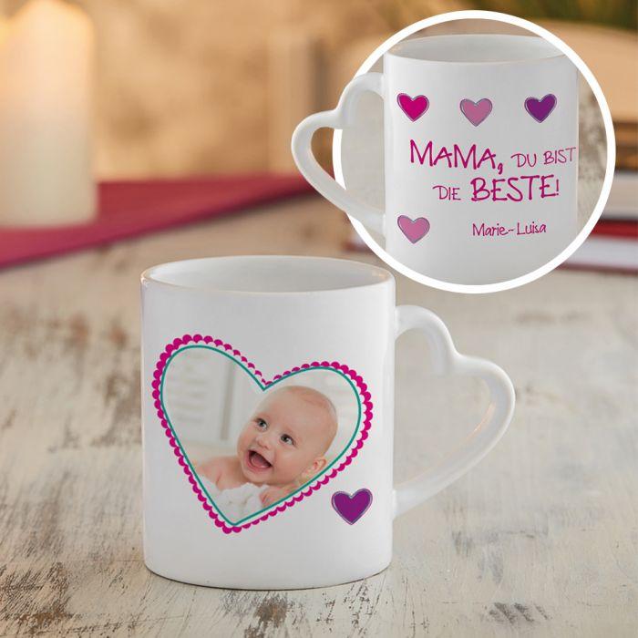 Fototasse mit Herzhenkel - Mama ist die Beste
