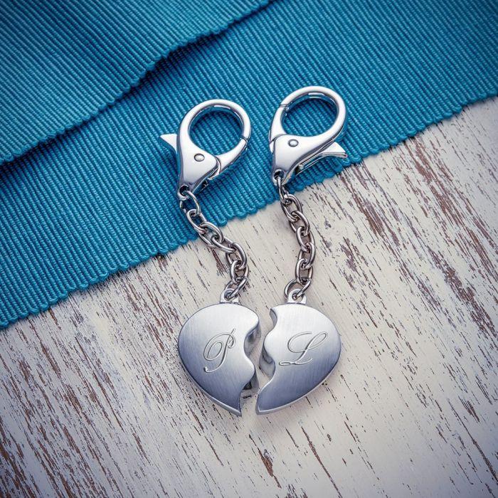 Herz Schlüsselanhänger Liebespaar mit Initialen
