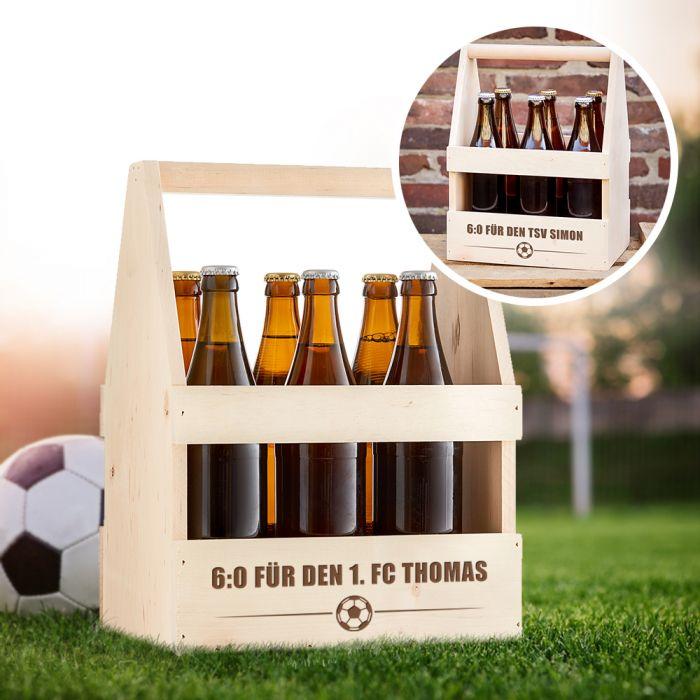 Fußball Flaschenträger mit Gravur - 6:0