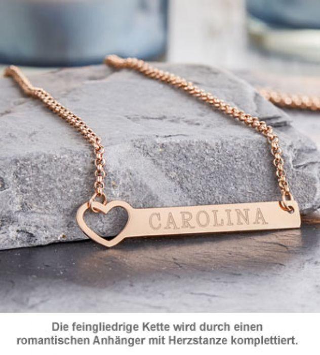 Kette mit Herzstanze Rosegold - Namensgravur