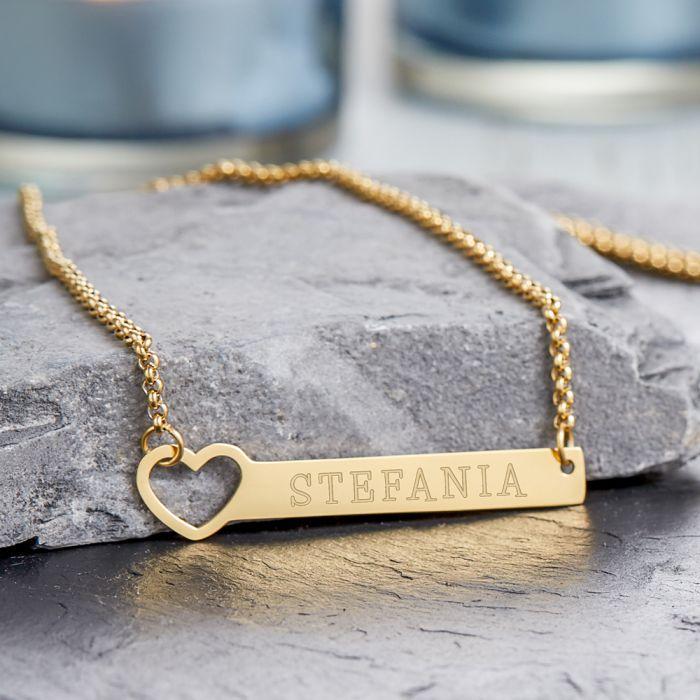Kette mit Herzstanze Gold - Namensgravur
