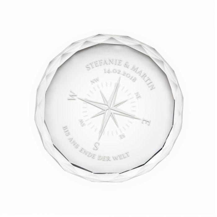 Kristall mit Gravur - Liebeskompass