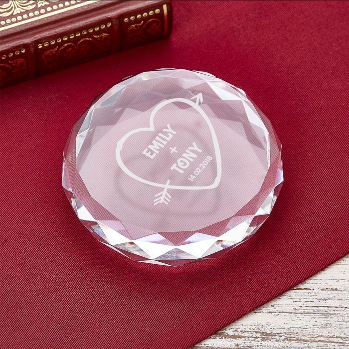 Cristal avec gravure - Flèche de Cupidon