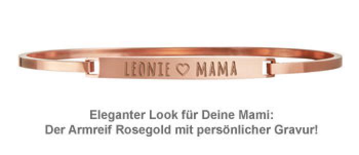 Armreif Rosegold mit Gravur - Mama Name