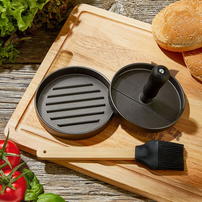 Burgerpresse mit Schneidebrett Grillset - Grillmeister