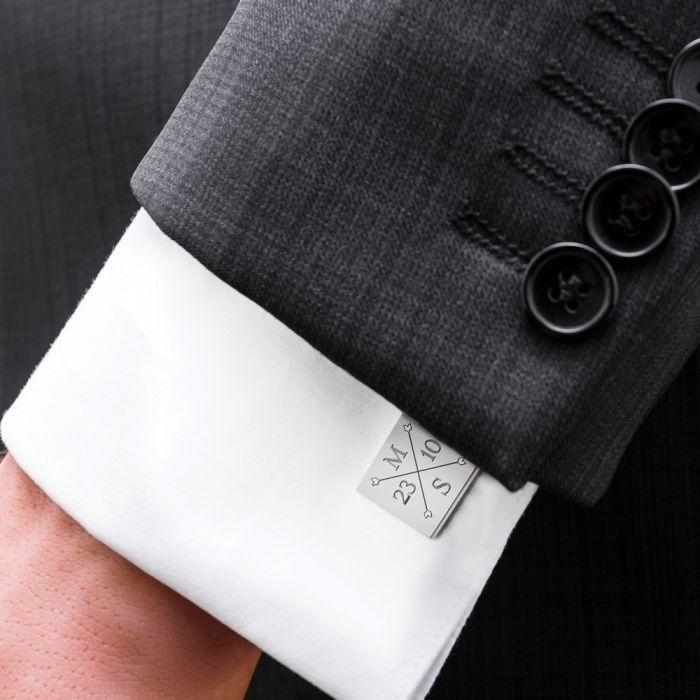 Manschettenknöpfe Silber zur Hochzeit - eckig - Monogramm
