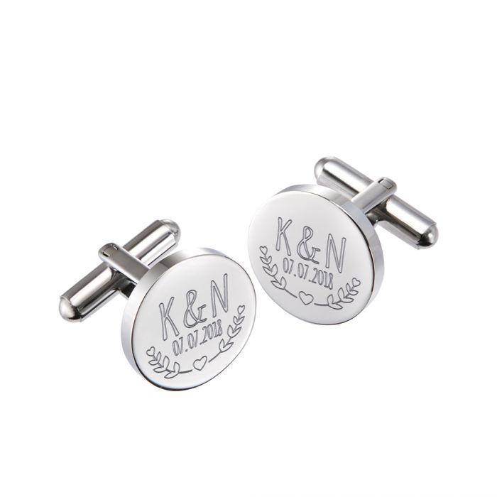 Manschettenknöpfe Silber zur Hochzeit - rund - Blätter
