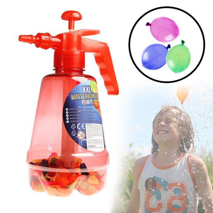 Wasserbombenfüller - Pumpe mit 100 Wasserballons - rot