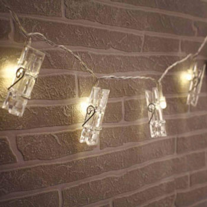 LED Lichterkette mit Wäscheklammern für Fotos