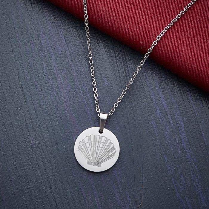 Runder Kettenanhänger Silber - Muschel mit Initiale