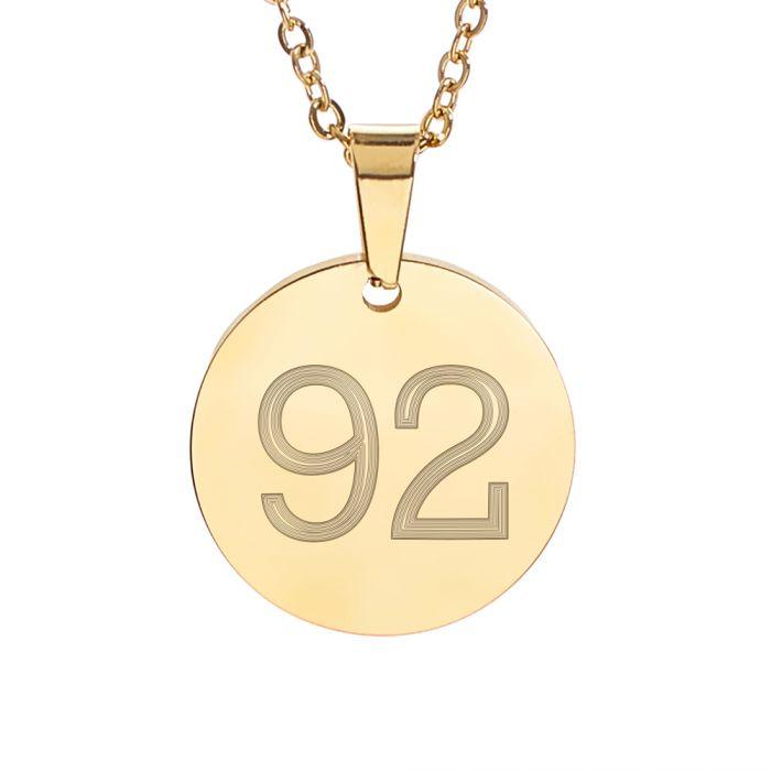 Runder Kettenanhänger Gold - Zahlen Gravur
