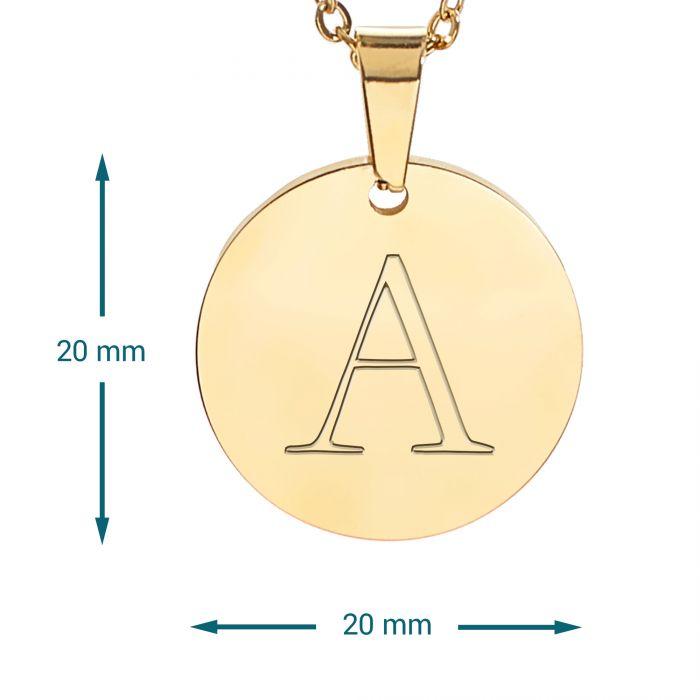 Runder Kettenanhänger Gold - Initialengravur