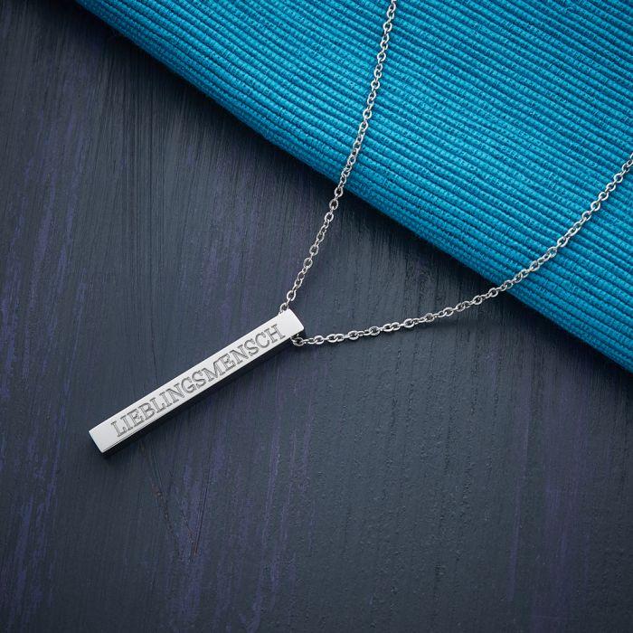 Kette mit Stabanhänger Silber - Lieblingsmensch