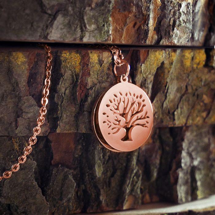 Kette mit graviertem Baum Anhänger Rosegold - Namen