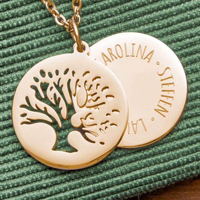 Kette mit graviertem Baum Anhänger Gold - Namen