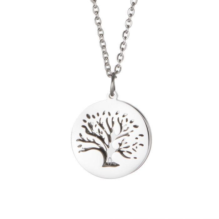 Kette mit graviertem Baum Anhänger Silber - Namen