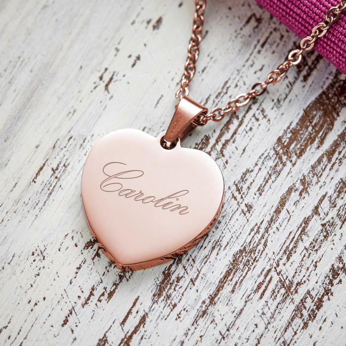 Herzanhänger Rosegold graviert mit Kette - Name