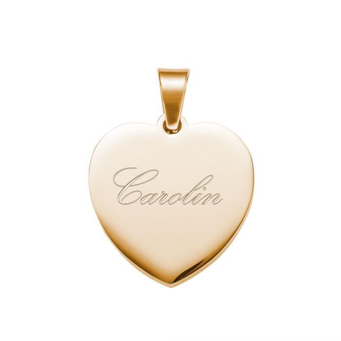 Herzanhänger Gold graviert mit Kette - Name