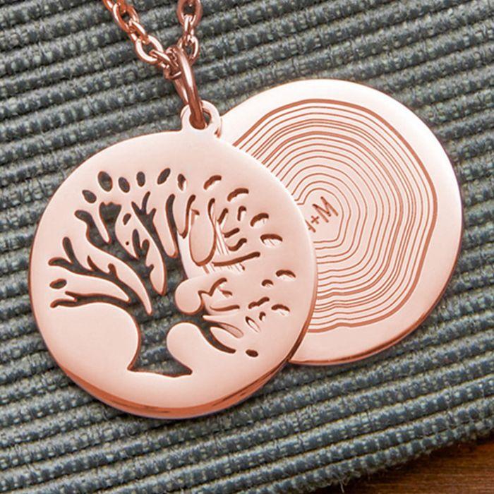 Kettenanhänger Rosegold - Baum und Jahresringe mit Initialen