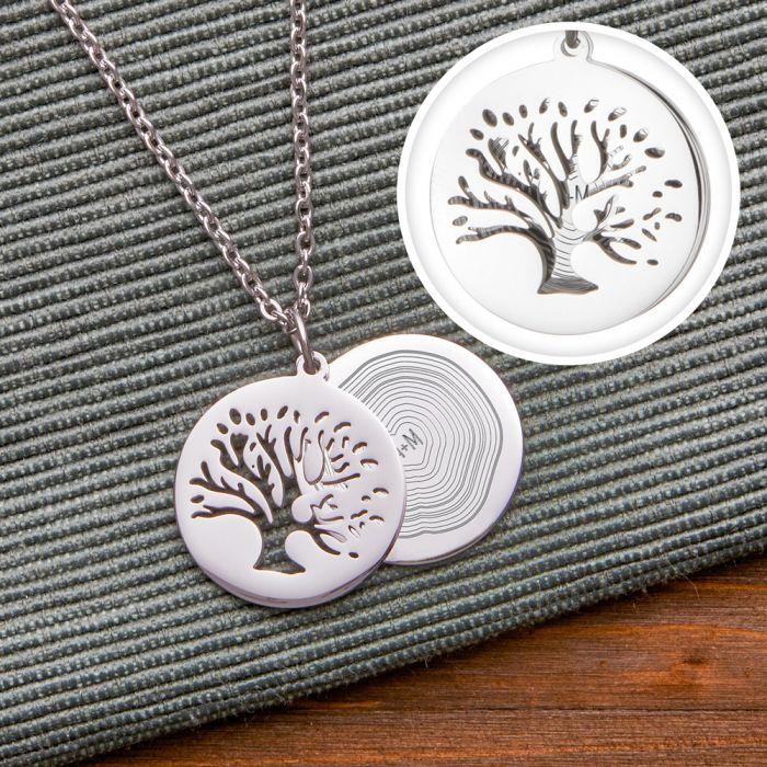 Kettenanhänger Silber - Baum und Jahresringe mit Initialen