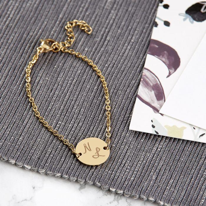 Armband Gold mit runder Plakette - Initialen
