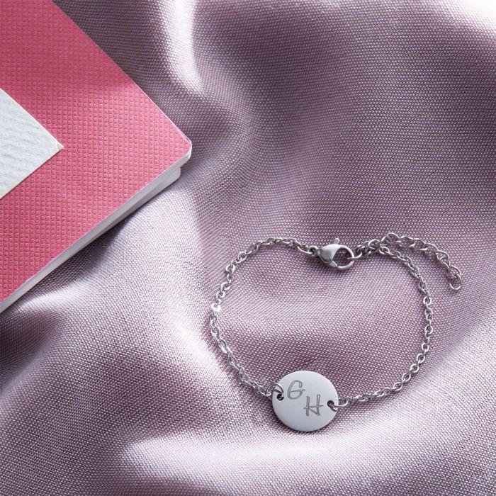 Armband Silber mit runder Plakette - Initialen