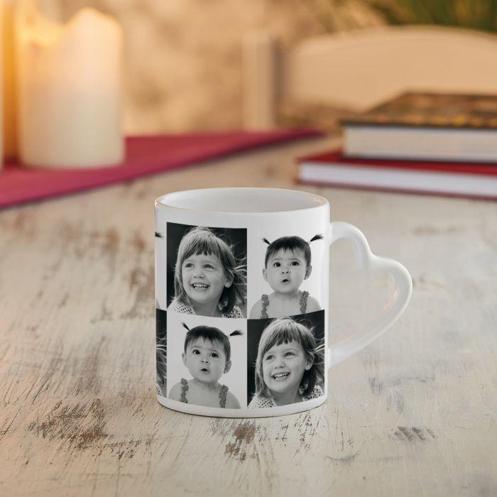 Fototasse mit Herzhenkel - Retro Collage