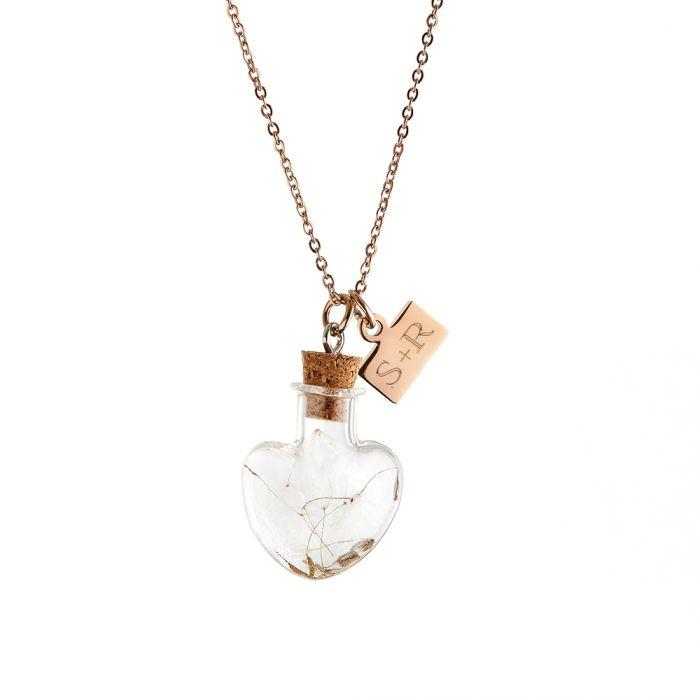 Herz Kettenanhänger Flaschenpost - Initialen Gravur