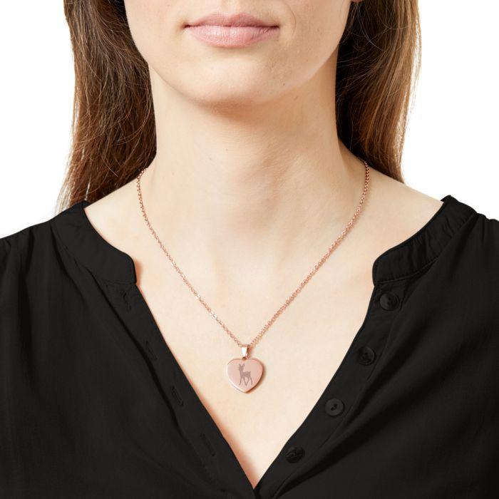 Herzanhänger Rosegold graviert mit Kette - Reh mit Name