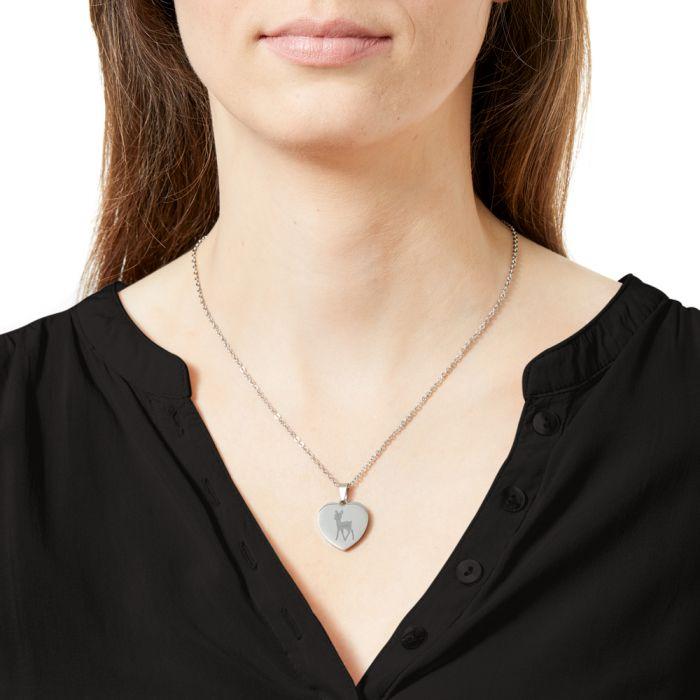 Herzanhänger Silber graviert mit Kette - Reh mit Name