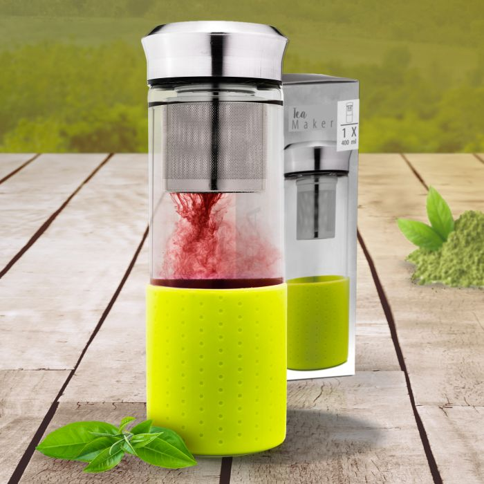 Teebereiter aus Glas mit Silikonhülle - grün