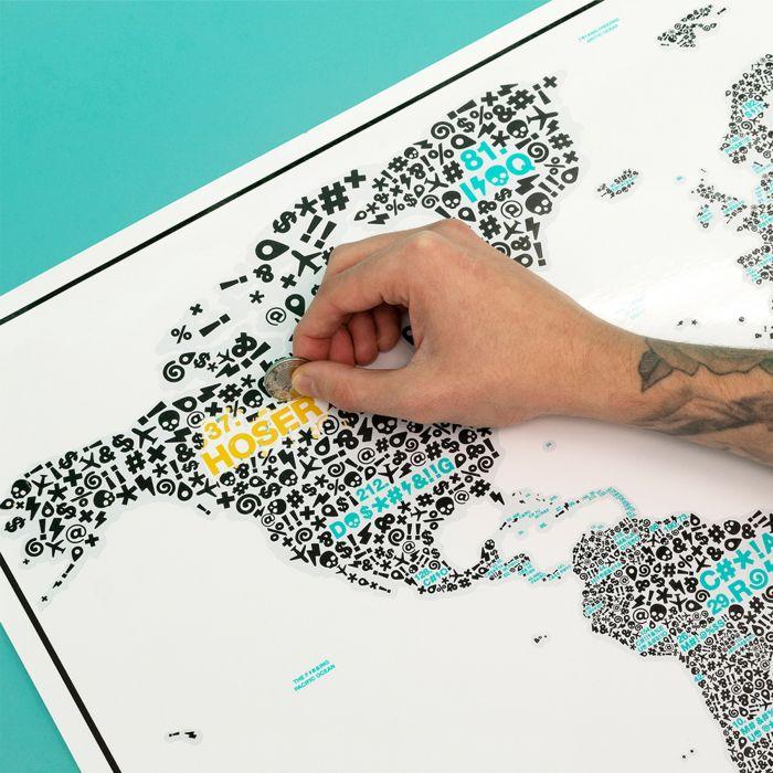 Scratch Map mit Schimpfwörtern
