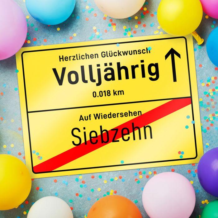 Ortsschild zum 18. Geburtstag