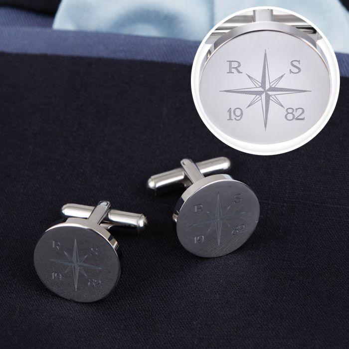 Manschettenknöpfe Silber - rund - Kompass mit Gravur
