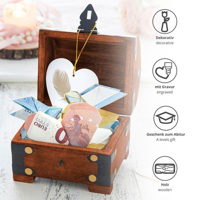 Mini Geld Schatztruhe zum Abitur Dunkel