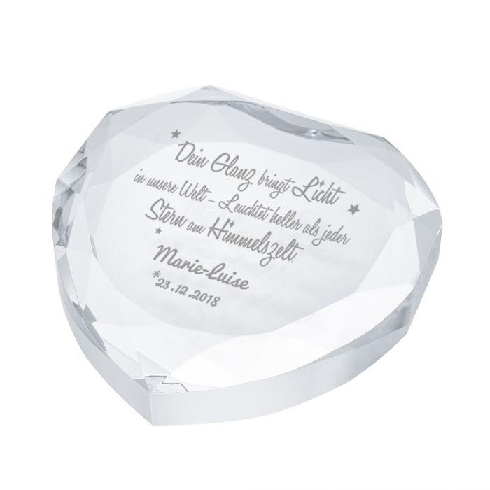 Herz-Diamant mit Gravur zur Taufe