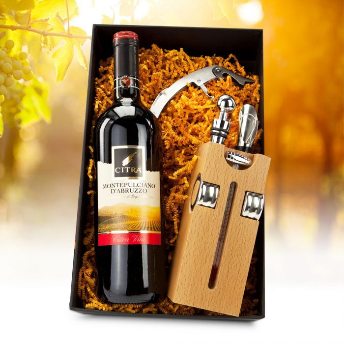 Wein Sommelier Box mit Weinflasche